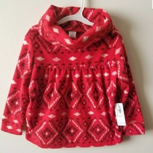 Old Navy Red Fleece Cowl-Neck Pullover Top Blouse